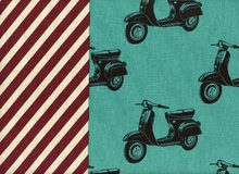 Echino Scooters Cotton Linen Aqua Japanese Import