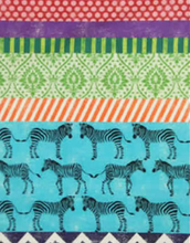 Echino Zebra Safari Chevron Fabric Blue