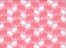 Elephants Cotton Fabric Pink