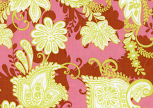 Exotic Lotus Floral Cotton Fabric in Spice