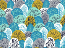 First Light Spring Woodland Organic Cotton Turquoise