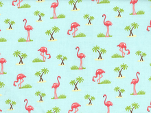 Flamingoes Cotton Aqua