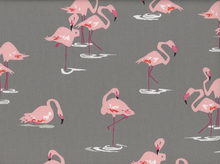 Flamingoes Cotton Grey