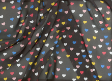 Floating Hearts Chiffon Black