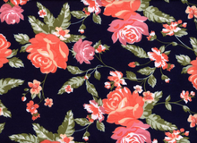 Floral Ponte Black and Coral