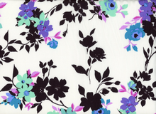 Floral Rayon Sateen White
