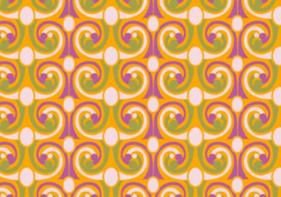 French Curls Geometric Cotton Fabric Orange