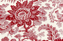 French General Painter De Fleurs Linen Cotton Red