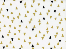 Gold and Bold Triangles Cotton White Gold