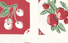 Granny Fruit Toweling Fabric Red