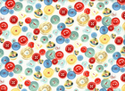 Handmade Buttons Cotton Blue Red Yellow