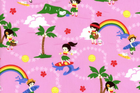 Hawaiian Childrens Surfing Fabric Pink