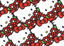 Hello Kitty Flowers Cotton Canvas Red