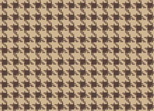 Houndstooth Check Cotton Fabric Beige