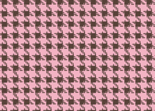 Houndstooth Check Cotton Fabric Pink