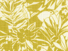 Japanese Import Cotton Barkcloth Fabric Birds and Leaves Mustard