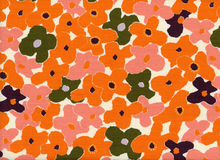 Japanese Imported Floral Dobby Cotton Orange