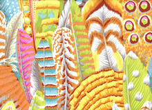 Kaffe Fassett Feathers Cotton Yellow