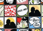 Kiss Me Comic Strip Fabric