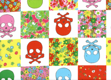 Kokka Floral Skull Checkers Cotton Canvas