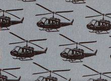 Laminated Cotton Echino Helicopters Grey