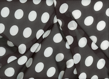 Large Dot Georgette Black