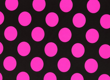 Large Polka Dot Swimwear Knit Fabric Black & Pink