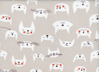 Lizzy House Catnap Kitty Faces Cotton Grey