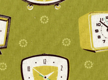 Melody Miller Clocks Imported Japanese Cotton Linen Fabric Olive