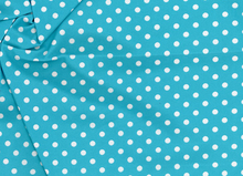 Mini Polka Dot Swimwear Knit Fabric Aqua