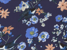 Monet Birds and Flowers Satin Rayon Navy