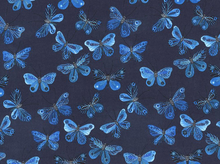 Moody Blues Butterflies Organic Cotton Navy
