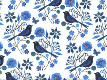 Moody Blues Perched Birds Organic Cotton White