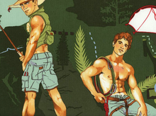 Alexander Henry Outdoorsy Type Hunks Cotton Fabric Green