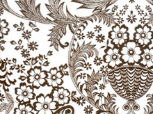 Oilcloth Fabric Brown & White Paradise