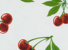 Oilcloth Fabric Cherries White