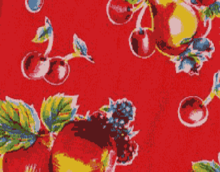 Oilcloth Fabric Pears & Apples Red