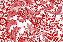Oilcloth Fabric Red & White Paradise