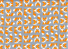 Organic Ed Emberley Picture Pie Foxes Cotton Grey