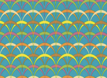 Parabolas Cotton Fabric Teal