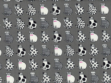 Patterned Cats Canvas Grey