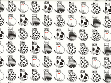 Patterned Cats Canvas White