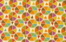 Pie Chart Cotton Fabric Orange