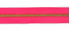 Pink and Brass #5 Zipper by the Yard