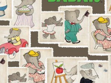 Babar Stamps Cotton Grey