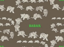 "Babar Traveling Elephants Cotton Grey  <br><FONT COLOR=""fc7db0"">Employee Favorite!</FONT>"