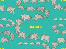 Babar Traveling Elephants Cotton Turquoise