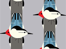 Birch Charley Harper Upside Downside Bird Organic Canvas