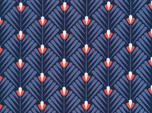 Cloud 9 Wildwood Deco Petal Cotton Navy