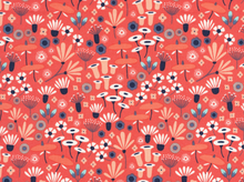 Pre-Order Cloud 9 Wildwood Wild Flower Cotton Crimson (Ships October)